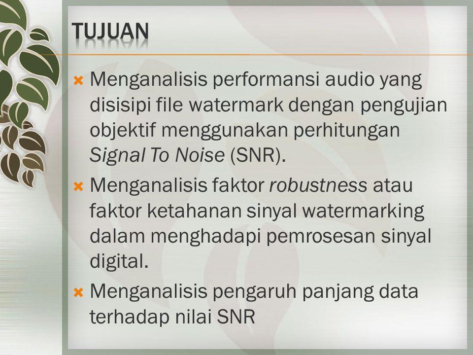  Menganalisis performansi audio yang disisipi file watermark dengan pengujian objektif menggunakan perhitungan Signal To Noise (SNR).