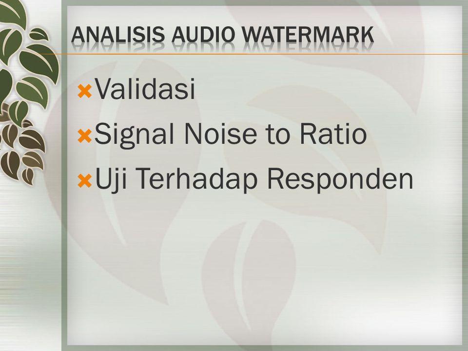  Validasi  Signal Noise to Ratio  Uji Terhadap Responden