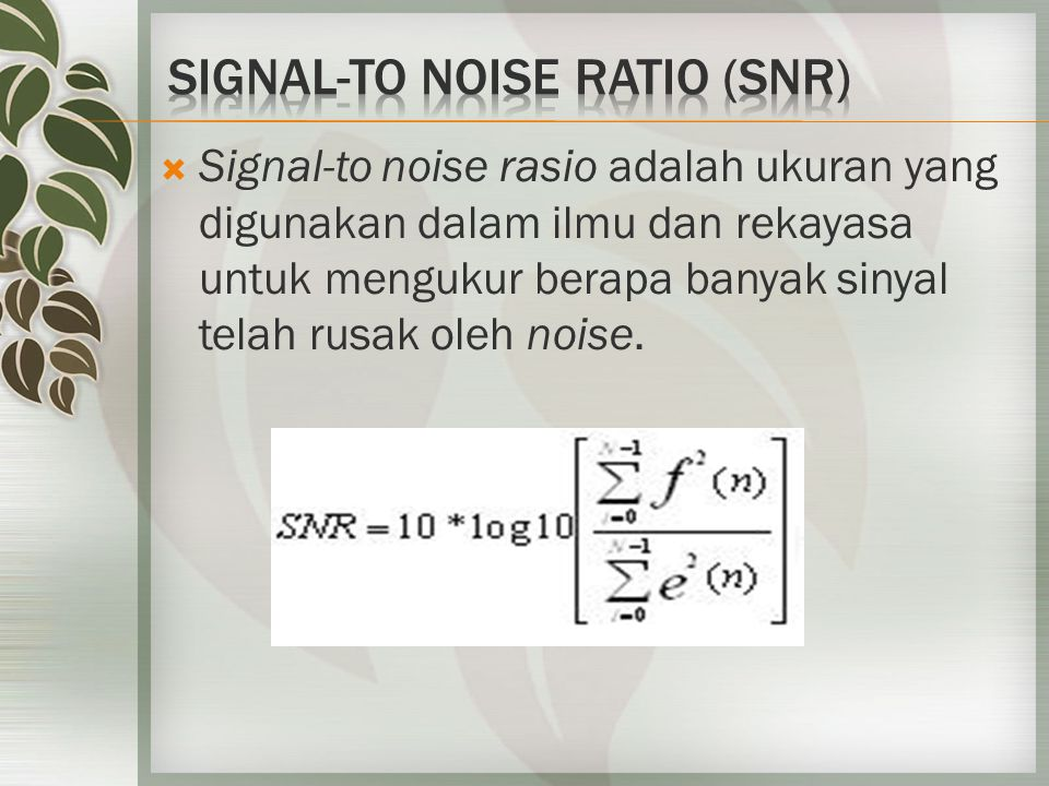 Noise  pemrosesan sinyal  Resampling  Cropping  High/Low pass  filtering  Invert