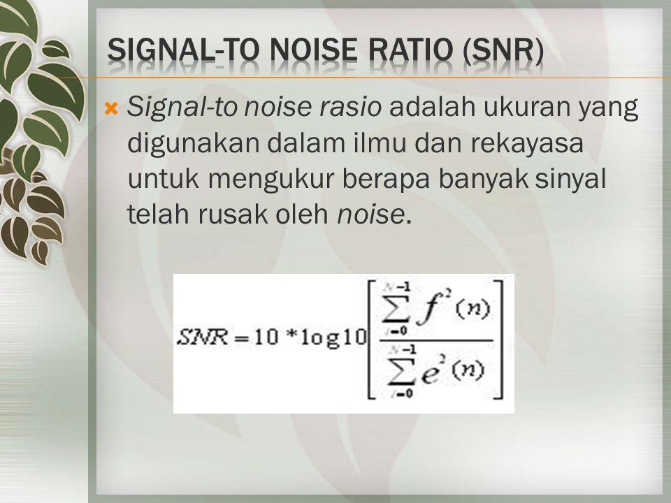  Signal-to noise rasio adalah ukuran yang digunakan dalam ilmu dan rekayasa untuk mengukur berapa banyak sinyal telah rusak oleh noise.