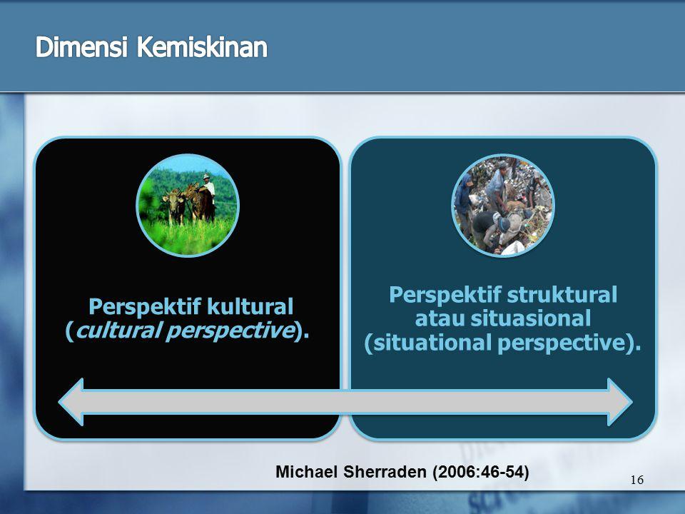 16 Perspektif kultural (cultural perspective). Perspektif struktural atau situasional (situational perspective). Michael Sherraden (2006:46-54)