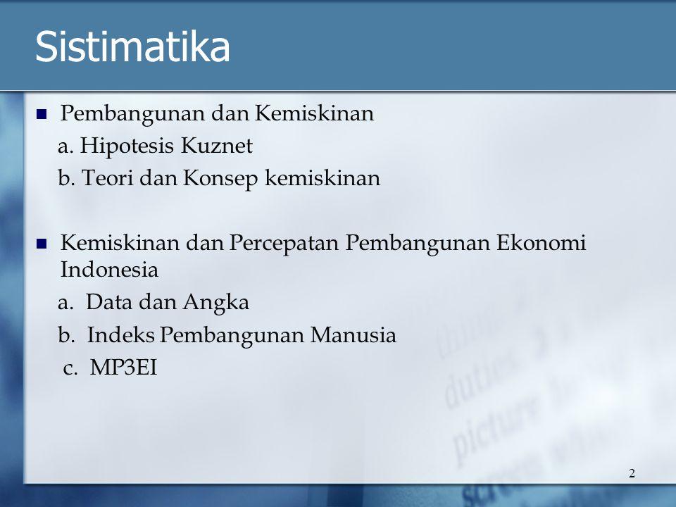 2 Sistimatika Pembangunan dan Kemiskinan a. Hipotesis Kuznet b. Teori dan Konsep kemiskinan Kemiskinan dan Percepatan Pembangunan Ekonomi Indonesia a.