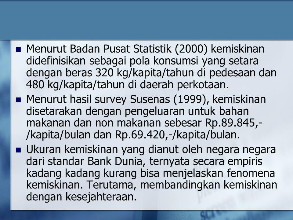 Menurut Badan Pusat Statistik (2000) kemiskinan didefinisikan sebagai pola konsumsi yang setara dengan beras 320 kg/kapita/tahun di pedesaan dan 480 k
