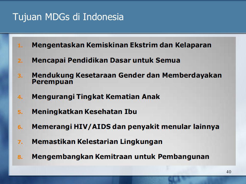 Tujuan MDGs di Indonesia 40