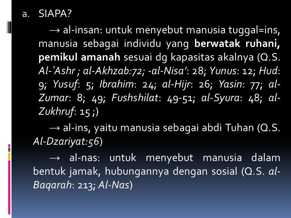 a. SIAPA? → al-insan: untuk menyebut manusia tuggal=ins, manusia sebagai individu yang berwatak ruhani, pemikul amanah sesuai dg kapasitas akalnya (Q.