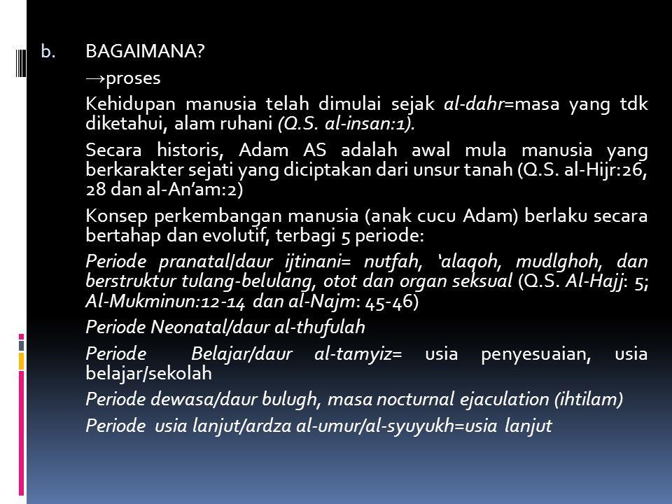 b. BAGAIMANA? → proses Kehidupan manusia telah dimulai sejak al-dahr=masa yang tdk diketahui, alam ruhani (Q.S. al-insan:1). Secara historis, Adam AS