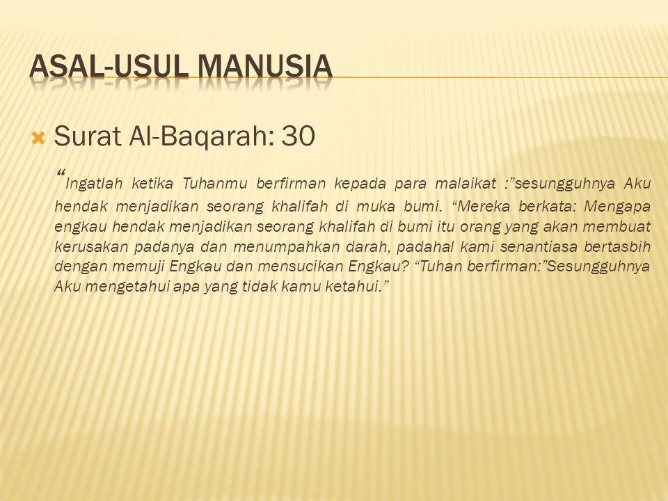  Surat Al-Baqarah: 30 Ingatlah ketika Tuhanmu berfirman kepada para malaikat : sesungguhnya Aku hendak menjadikan seorang khalifah di muka bumi.