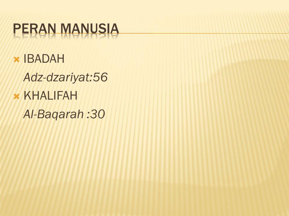  IBADAH Adz-dzariyat:56  KHALIFAH Al-Baqarah :30