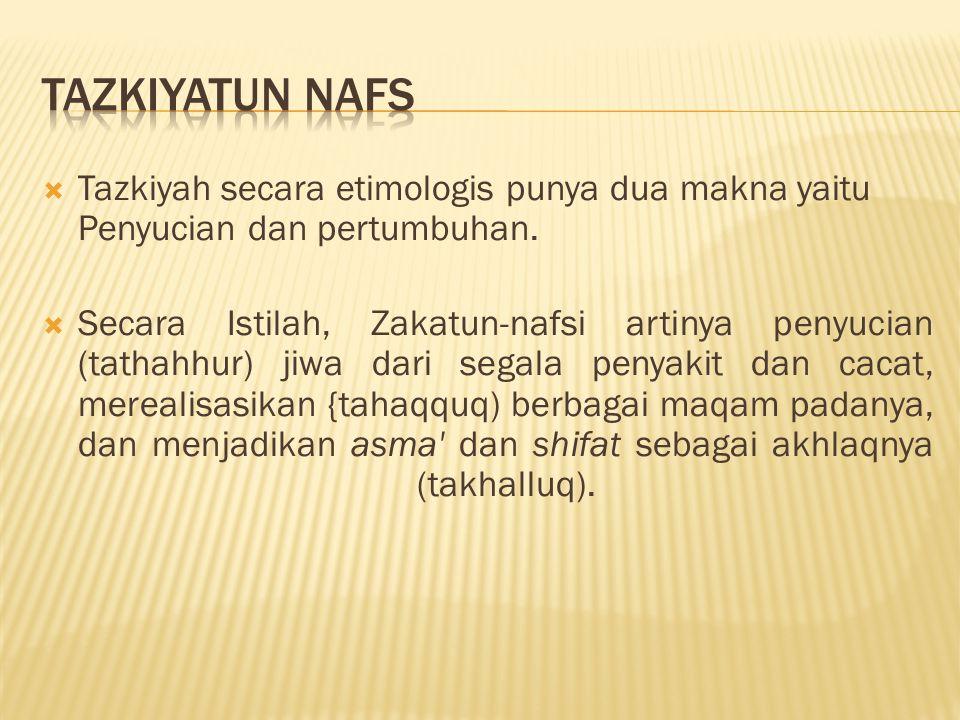  Tazkiyah secara etimologis punya dua makna yaitu Penyucian dan pertumbuhan.  Secara Istilah, Zakatun-nafsi artinya penyucian (tathahhur) jiwa dari
