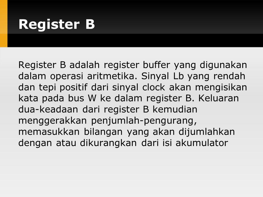 Register B Register B adalah register buffer yang digunakan dalam operasi aritmetika.