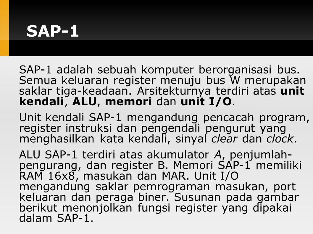 SAP-1 SAP-1 adalah sebuah komputer berorganisasi bus.