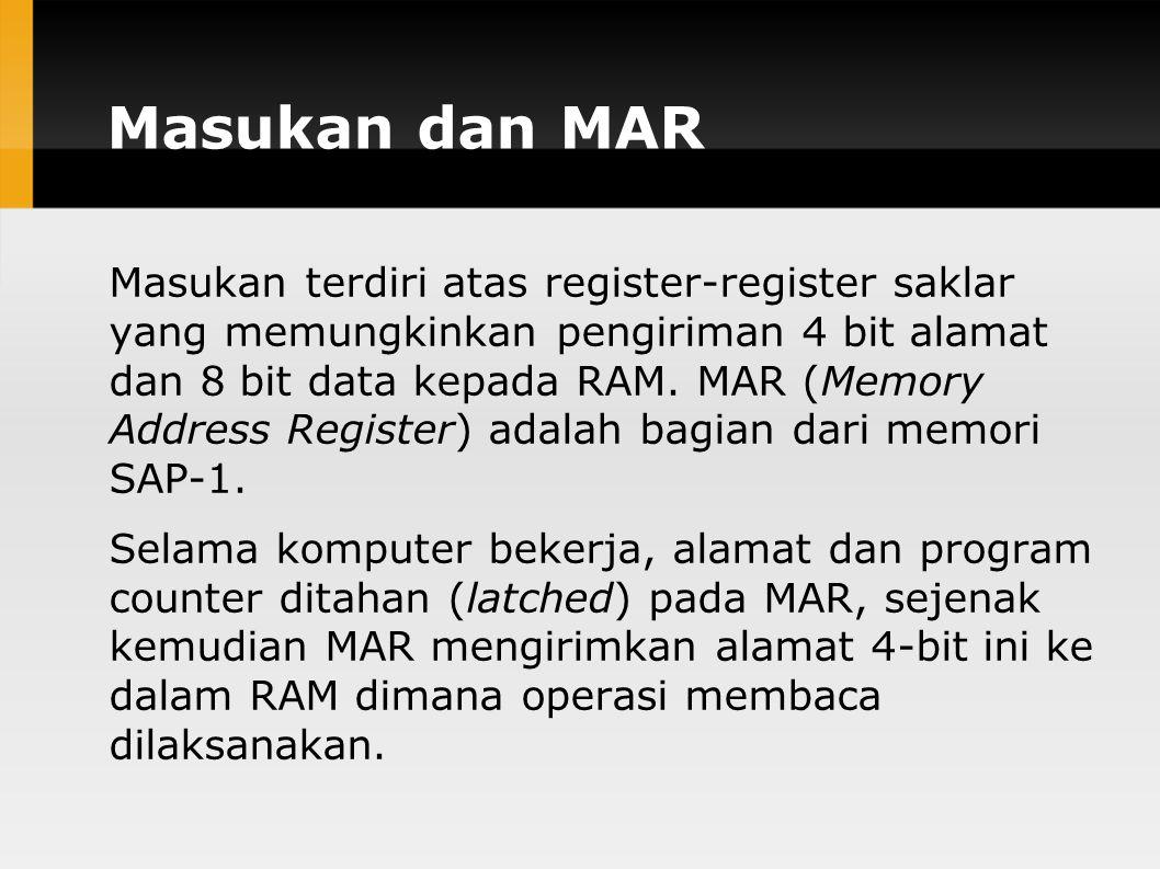 Masukan dan MAR Masukan terdiri atas register-register saklar yang memungkinkan pengiriman 4 bit alamat dan 8 bit data kepada RAM.