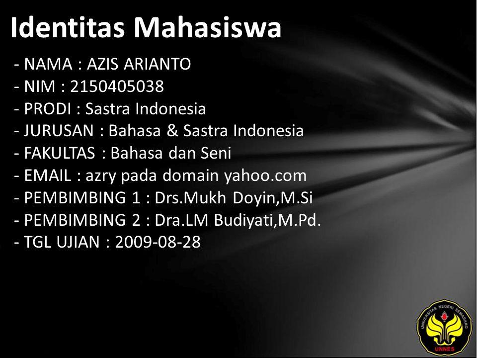 Identitas Mahasiswa - NAMA : AZIS ARIANTO - NIM : 2150405038 - PRODI : Sastra Indonesia - JURUSAN : Bahasa & Sastra Indonesia - FAKULTAS : Bahasa dan
