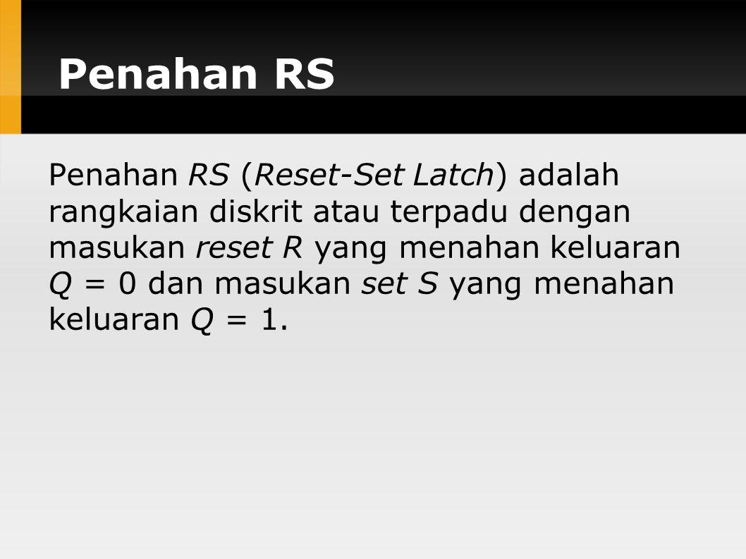 Penahan RS Penahan RS (Reset-Set Latch) adalah rangkaian diskrit atau terpadu dengan masukan reset R yang menahan keluaran Q = 0 dan masukan set S yan