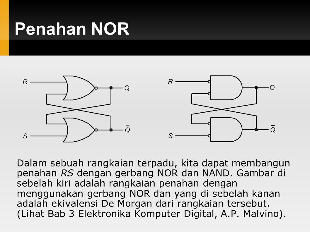 Penahan NOR Dalam sebuah rangkaian terpadu, kita dapat membangun penahan RS dengan gerbang NOR dan NAND. Gambar di sebelah kiri adalah rangkaian penah