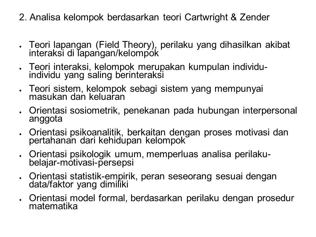 2. Analisa kelompok berdasarkan teori Cartwright & Zender ● Teori lapangan (Field Theory), perilaku yang dihasilkan akibat interaksi di lapangan/kelom