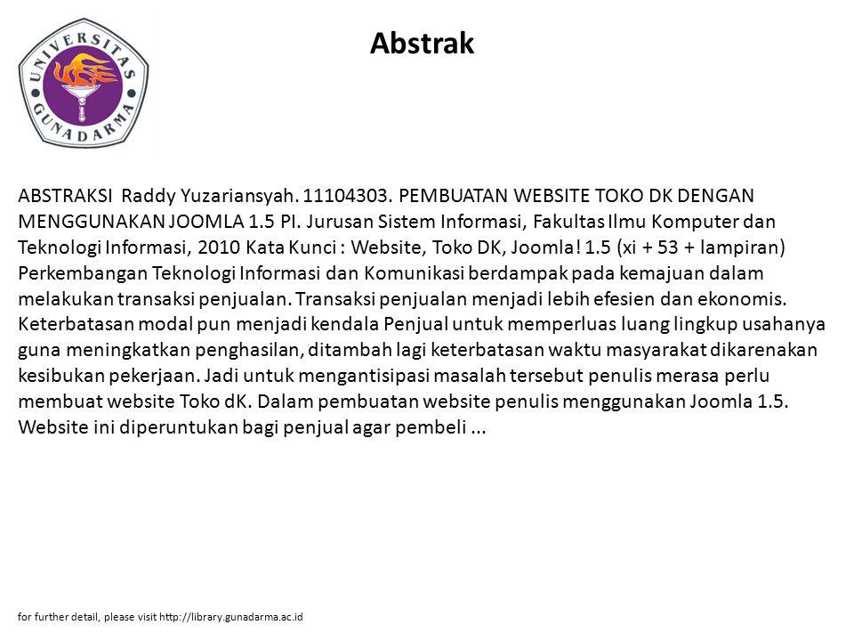 Abstrak ABSTRAKSI Raddy Yuzariansyah. 11104303.