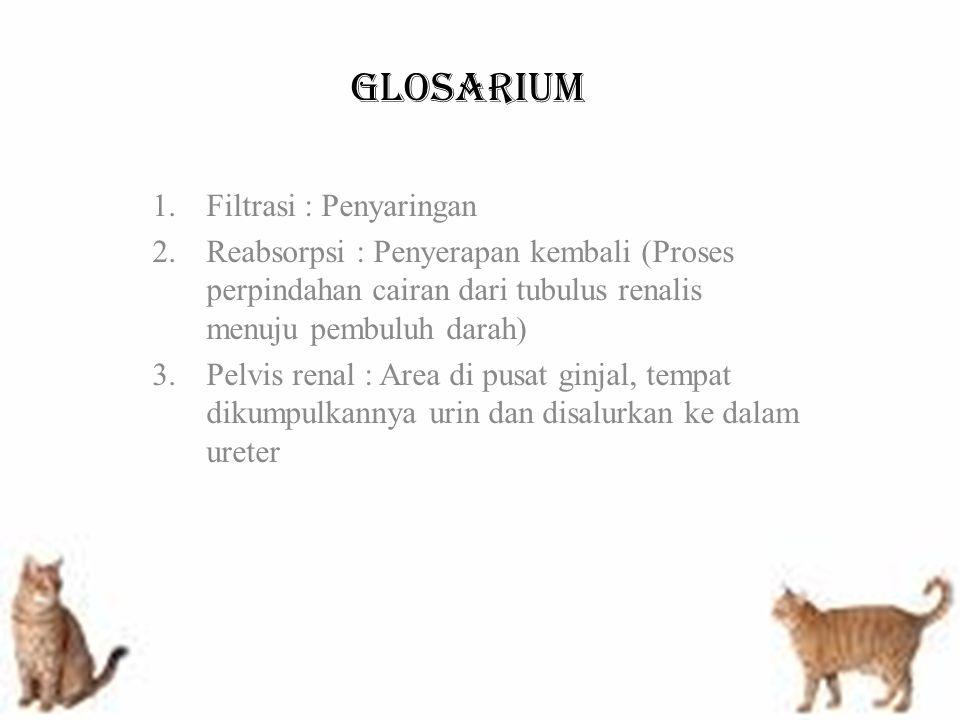 GLOSARIUM 1.Filtrasi : Penyaringan 2.Reabsorpsi : Penyerapan kembali (Proses perpindahan cairan dari tubulus renalis menuju pembuluh darah) 3.Pelvis r