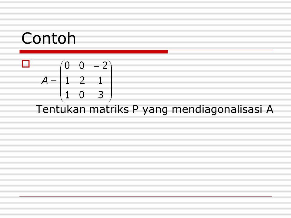 Contoh  Tentukan matriks P yang mendiagonalisasi A