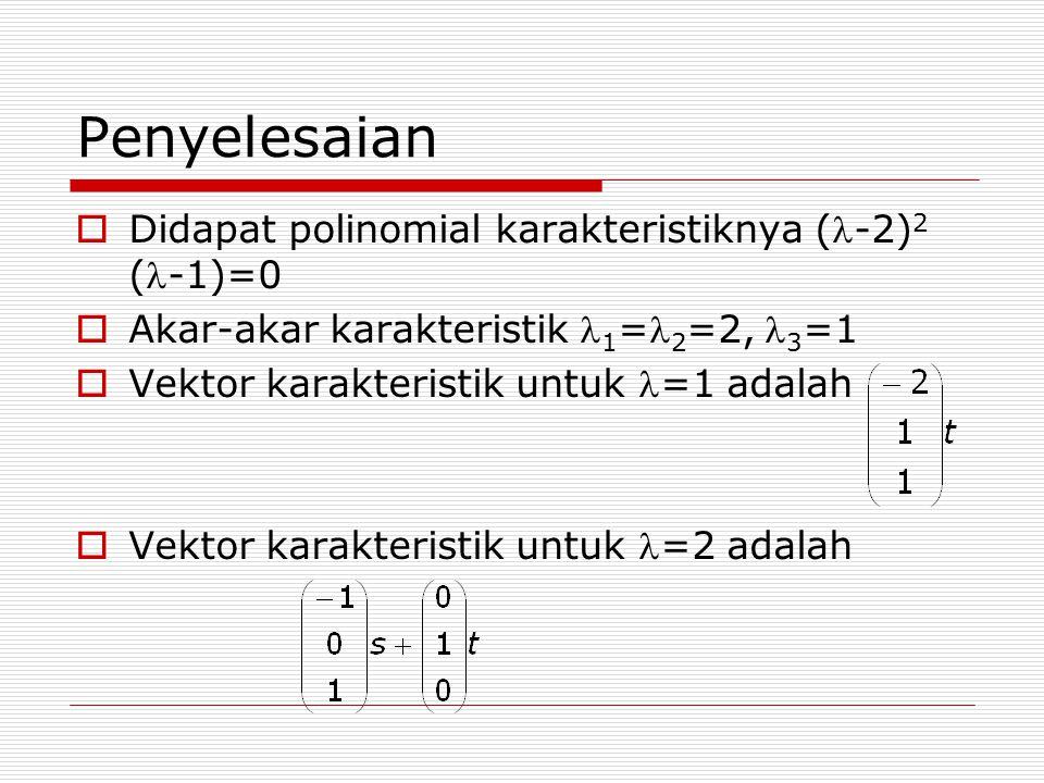 Penyelesaian  Didapat polinomial karakteristiknya (-2) 2 (-1)=0  Akar-akar karakteristik 1 = 2 =2, 3 =1  Vektor karakteristik untuk =1 adalah  Vek