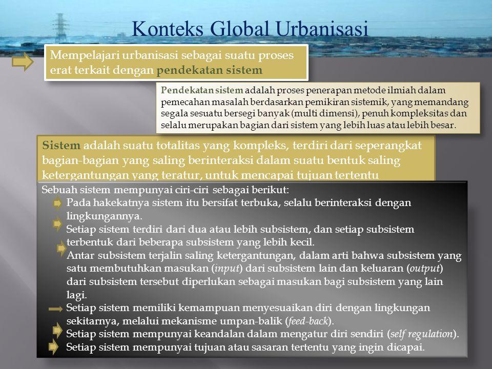 Konteks Global Urbanisasi Sistem adalah suatu totalitas yang kompleks, terdiri dari seperangkat bagian-bagian yang saling berinteraksi dalam suatu ben