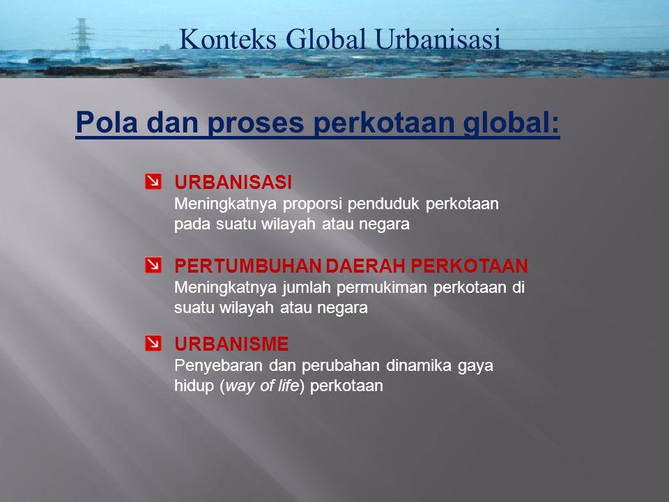 Konteks Global Urbanisasi Pola dan proses perkotaan global: URBANISASI Meningkatnya proporsi penduduk perkotaan pada suatu wilayah atau negara URBANIS