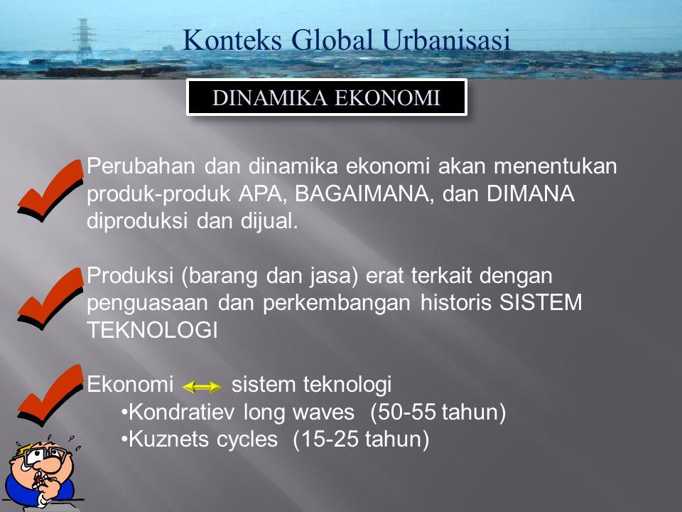 Konteks Global Urbanisasi DINAMIKA EKONOMI Perubahan dan dinamika ekonomi akan menentukan produk-produk APA, BAGAIMANA, dan DIMANA diproduksi dan diju