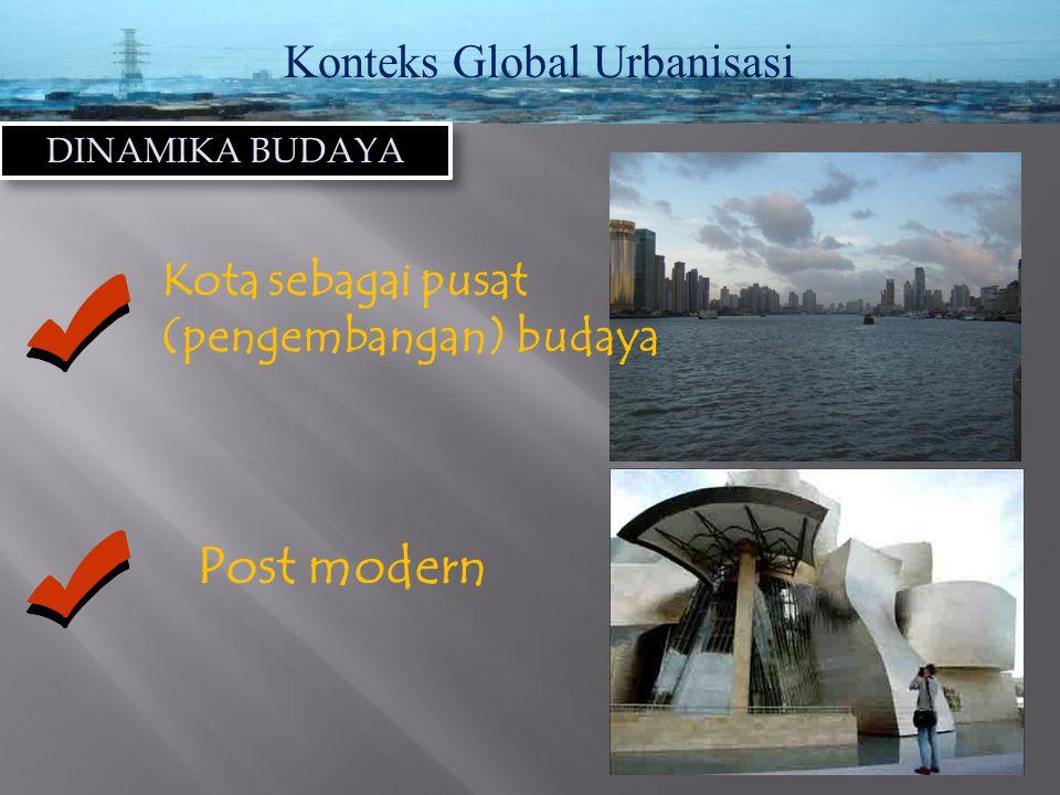 Konteks Global Urbanisasi DINAMIKA BUDAYA Kota sebagai pusat (pengembangan) budaya Post modern
