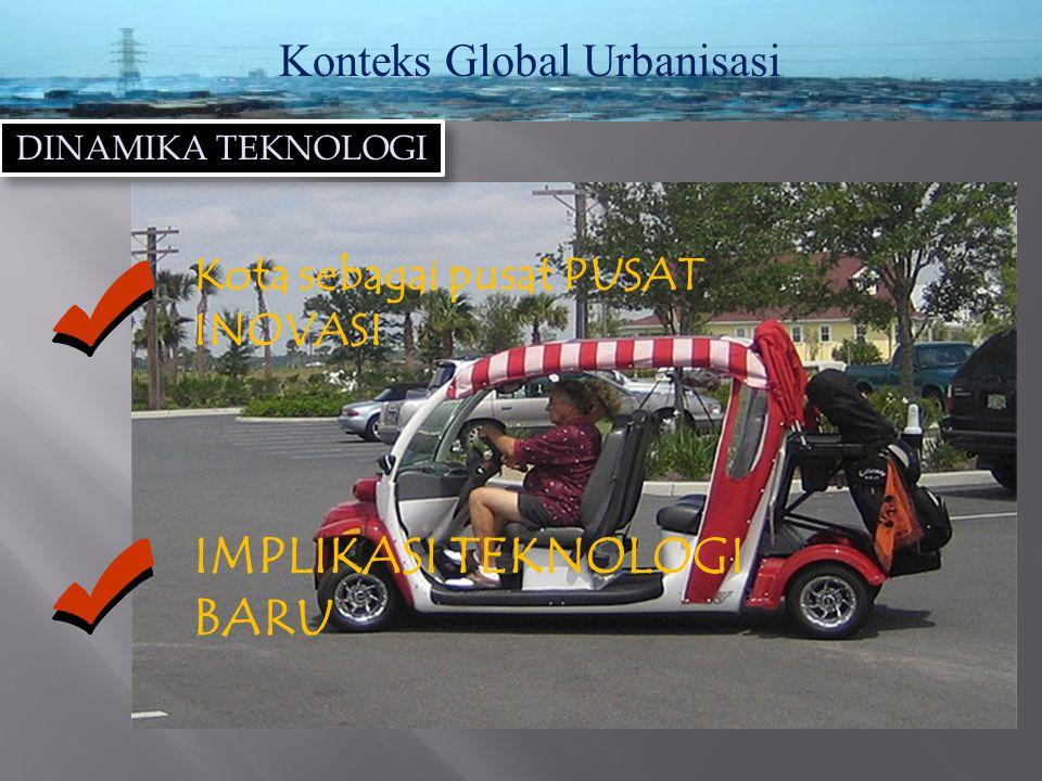 Konteks Global Urbanisasi DINAMIKA TEKNOLOGI Kota sebagai pusat PUSAT INOVASI IMPLIKASI TEKNOLOGI BARU