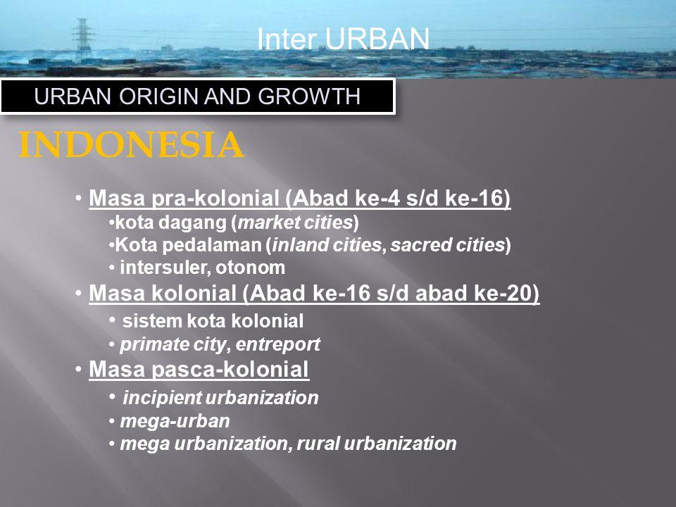 Inter URBAN URBAN ORIGIN AND GROWTH INDONESIA Masa pra-kolonial (Abad ke-4 s/d ke-16) kota dagang (market cities) Kota pedalaman (inland cities, sacred cities) intersuler, otonom Masa kolonial (Abad ke-16 s/d abad ke-20) sistem kota kolonial primate city, entreport Masa pasca-kolonial incipient urbanization mega-urban mega urbanization, rural urbanization