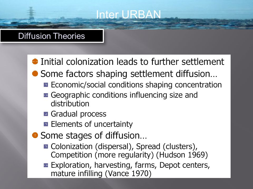 Inter URBAN Diffusion Theories