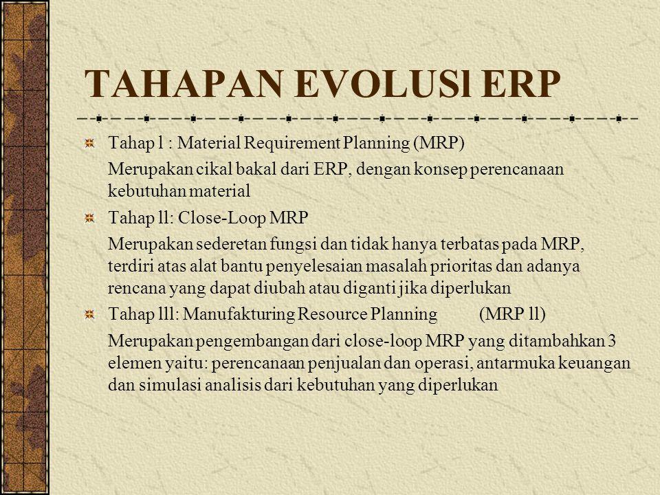TAHAPAN EVOLUSl ERP Tahap l : Material Requirement Planning (MRP) Merupakan cikal bakal dari ERP, dengan konsep perencanaan kebutuhan material Tahap l