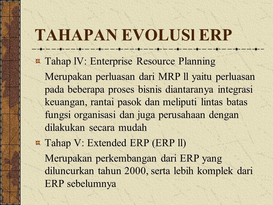 TAHAPAN EVOLUSl ERP Tahap lV: Enterprise Resource Planning Merupakan perluasan dari MRP ll yaitu perluasan pada beberapa proses bisnis diantaranya int