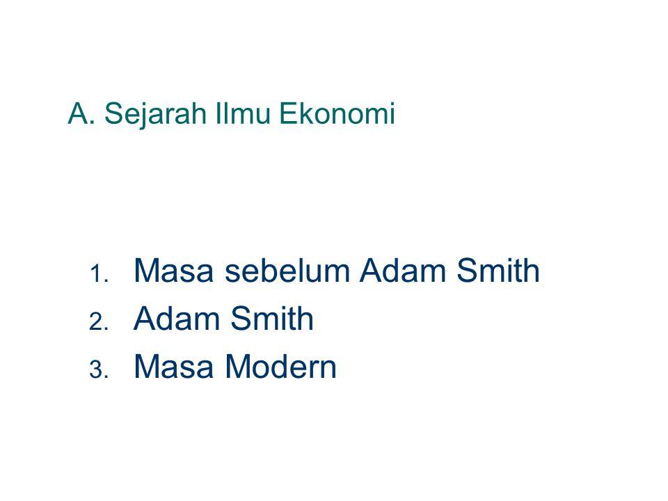 A. Sejarah Ilmu Ekonomi 1. Masa sebelum Adam Smith 2. Adam Smith 3. Masa Modern