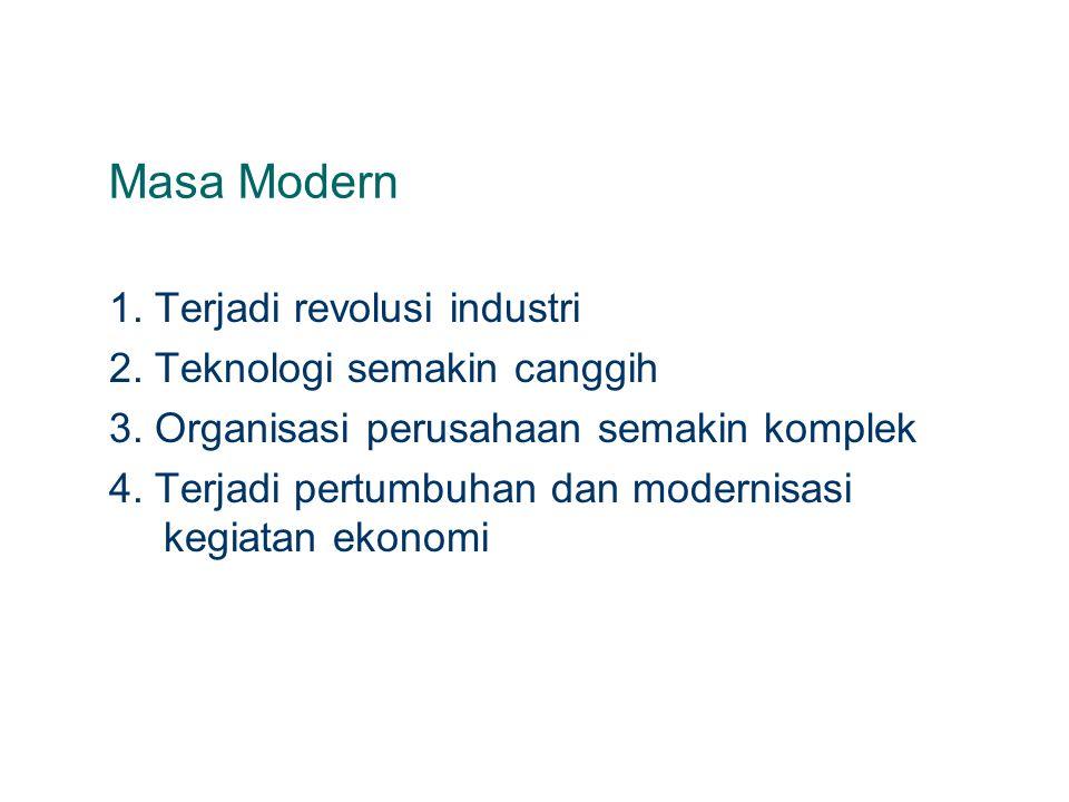 Masa Modern 1. Terjadi revolusi industri 2. Teknologi semakin canggih 3. Organisasi perusahaan semakin komplek 4. Terjadi pertumbuhan dan modernisasi