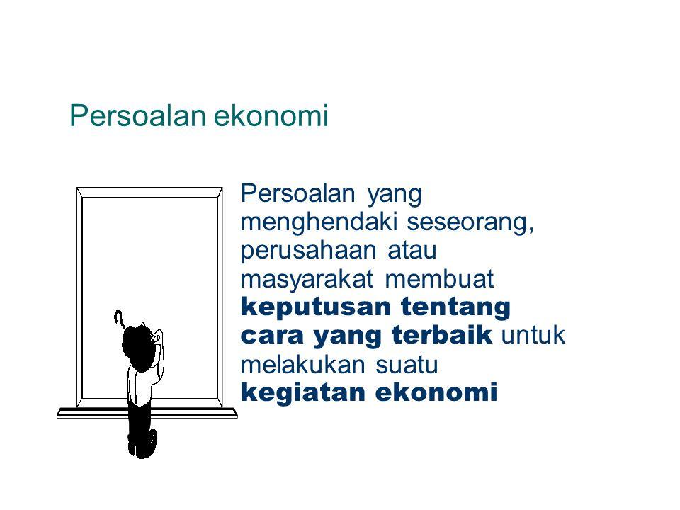 Kegiatan ekonomi Kegiatan seseorang, perusahaan atau masyarakat untuk memproduksi barang dan jasa maupun mengkonsumsinya