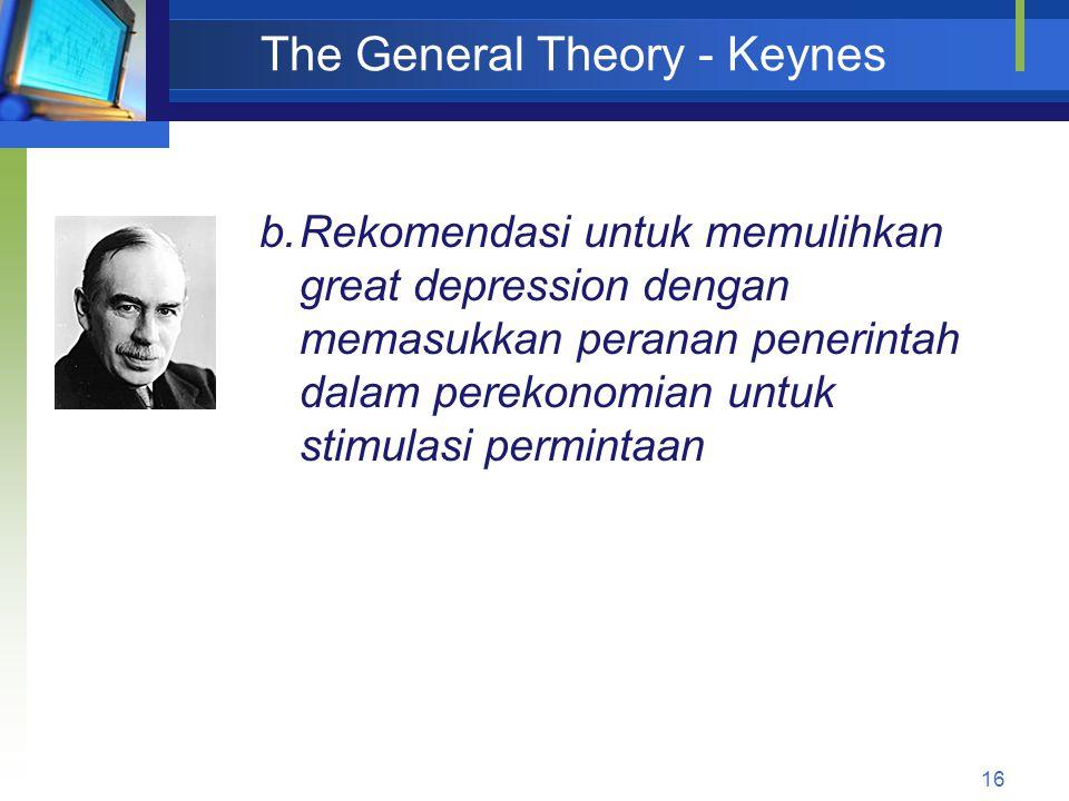 16 The General Theory - Keynes b.Rekomendasi untuk memulihkan great depression dengan memasukkan peranan penerintah dalam perekonomian untuk stimulasi