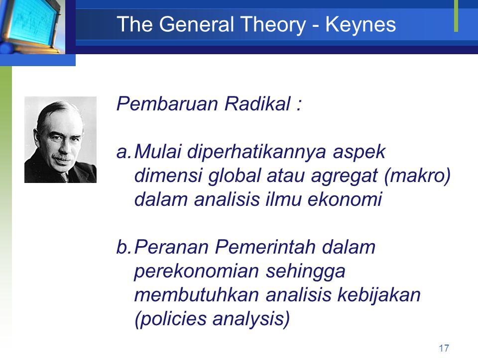 17 The General Theory - Keynes Pembaruan Radikal : a.Mulai diperhatikannya aspek dimensi global atau agregat (makro) dalam analisis ilmu ekonomi b.Per