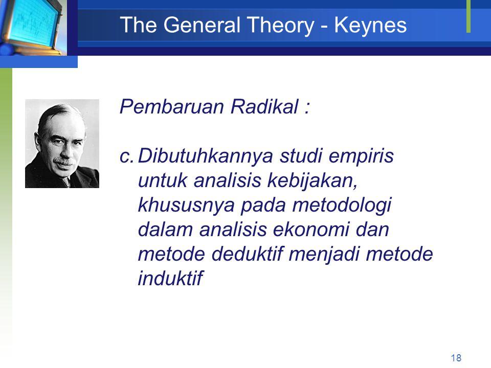 18 The General Theory - Keynes Pembaruan Radikal : c.Dibutuhkannya studi empiris untuk analisis kebijakan, khususnya pada metodologi dalam analisis ek