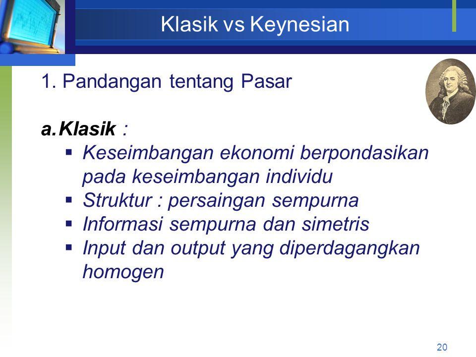 20 Klasik vs Keynesian 1. Pandangan tentang Pasar a.Klasik :  Keseimbangan ekonomi berpondasikan pada keseimbangan individu  Struktur : persaingan s