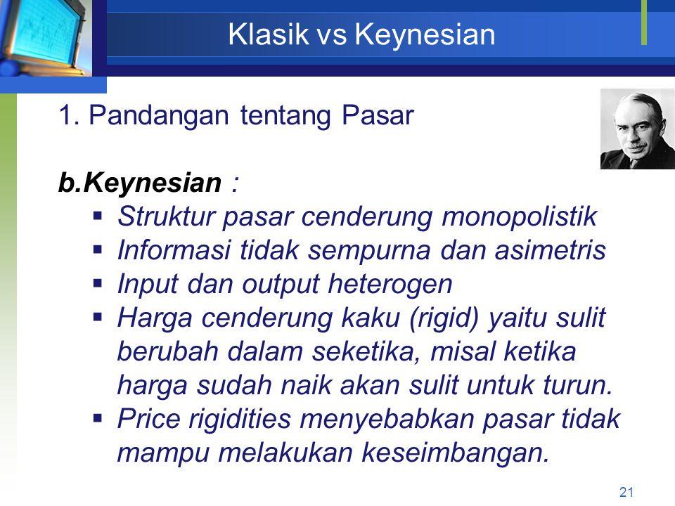 21 Klasik vs Keynesian 1. Pandangan tentang Pasar b.Keynesian :  Struktur pasar cenderung monopolistik  Informasi tidak sempurna dan asimetris  Inp