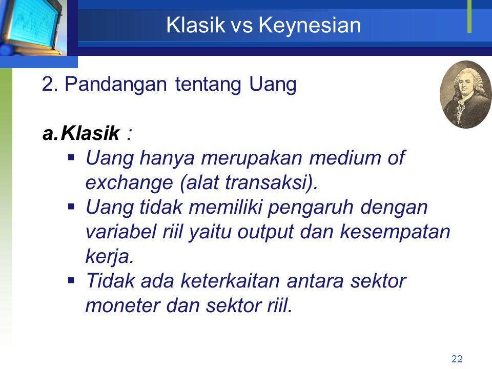 22 Klasik vs Keynesian 2. Pandangan tentang Uang a.Klasik :  Uang hanya merupakan medium of exchange (alat transaksi).  Uang tidak memiliki pengaruh