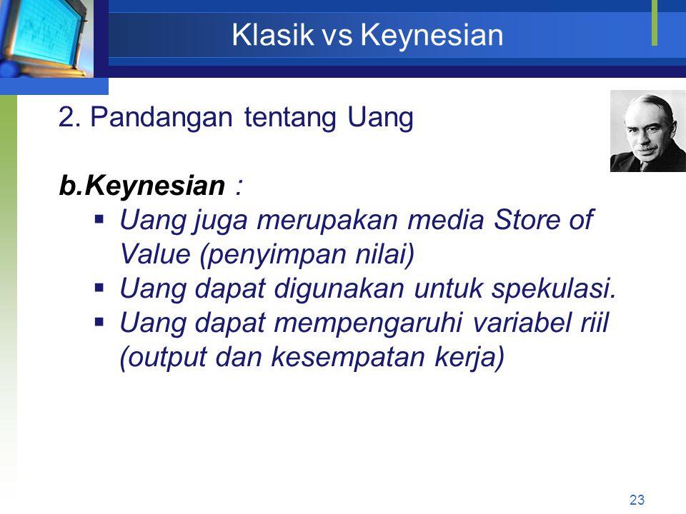 23 Klasik vs Keynesian 2. Pandangan tentang Uang b.Keynesian :  Uang juga merupakan media Store of Value (penyimpan nilai)  Uang dapat digunakan unt