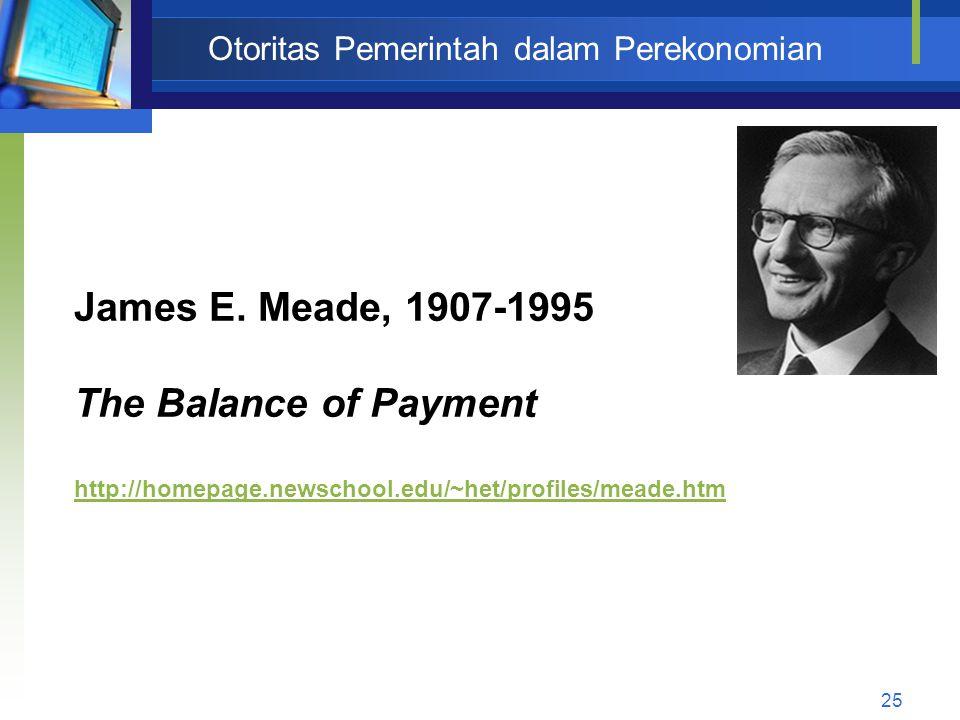 25 Otoritas Pemerintah dalam Perekonomian James E. Meade, 1907-1995 The Balance of Payment http://homepage.newschool.edu/~het/profiles/meade.htm