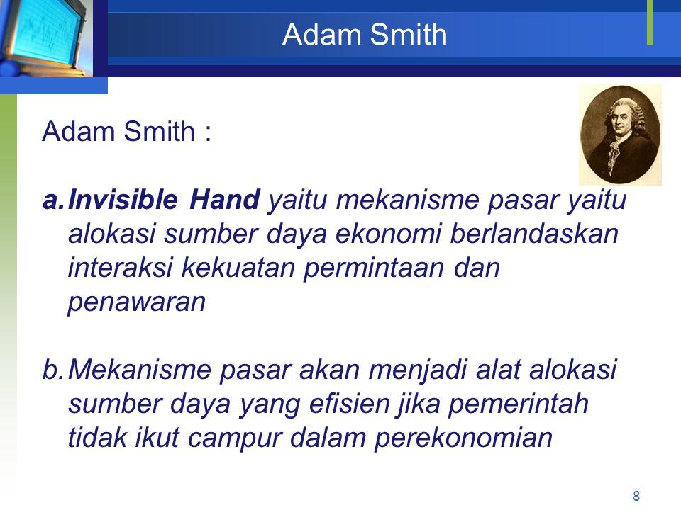 8 Adam Smith Adam Smith : a.Invisible Hand yaitu mekanisme pasar yaitu alokasi sumber daya ekonomi berlandaskan interaksi kekuatan permintaan dan pena