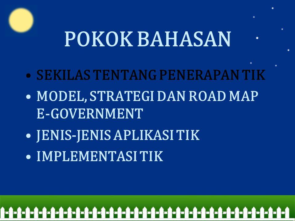 POKOK BAHASAN SEKILAS TENTANG PENERAPAN TIK MODEL, STRATEGI DAN ROAD MAP E-GOVERNMENT JENIS-JENIS APLIKASI TIK IMPLEMENTASI TIK