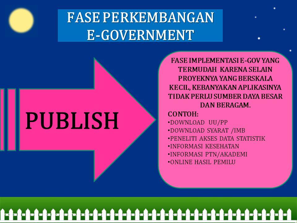 FASE PERKEMBANGAN E-GOVERNMENT PUBLISH FASE IMPLEMENTASI E-GOV YANG TERMUDAH KARENA SELAIN PROYEKNYA YANG BERSKALA KECIL, KEBANYAKAN APLIKASINYA TIDAK