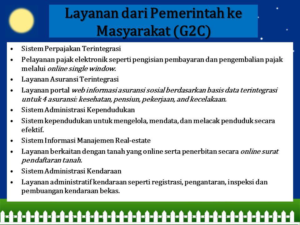 Layanan dari Pemerintah ke Masyarakat (G2C) Sistem Perpajakan Terintegrasi Pelayanan pajak elektronik seperti pengisian pembayaran dan pengembalian pa