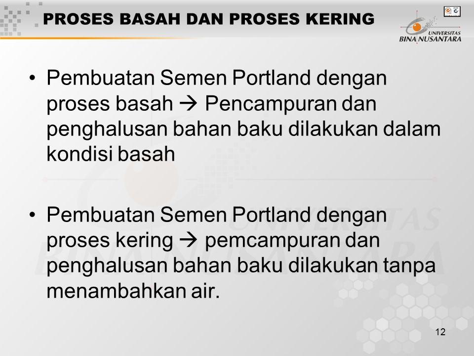 12 PROSES BASAH DAN PROSES KERING Pembuatan Semen Portland dengan proses basah  Pencampuran dan penghalusan bahan baku dilakukan dalam kondisi basah