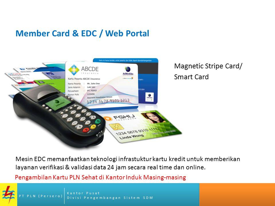 Kantor Pusat Divisi Pengembangan Sistem SDM PT PLN (Persero) Member Card & EDC / Web Portal Magnetic Stripe Card/ Smart Card Mesin EDC memanfaatkan te